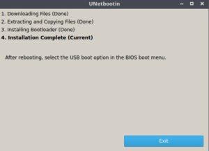 Końcowy ekran UNetbootin